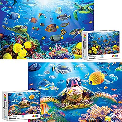 Two Pack 1000 Piece Jigsaw Puzzle Sea World Themes for Family, Friends, and Kids