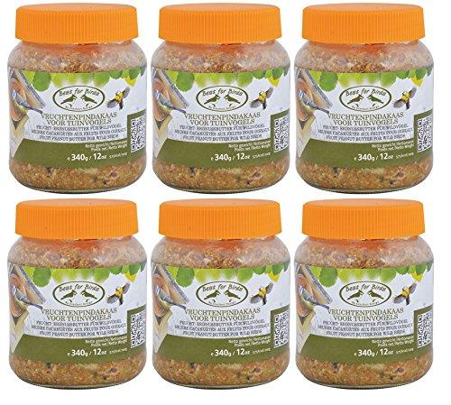 Esschert Design FB252 Frucht-Erdnussbutter Wildvogelfutter, Sparpack (6 x 340 g) + Gardopia Zeckenzange mit Lupe
