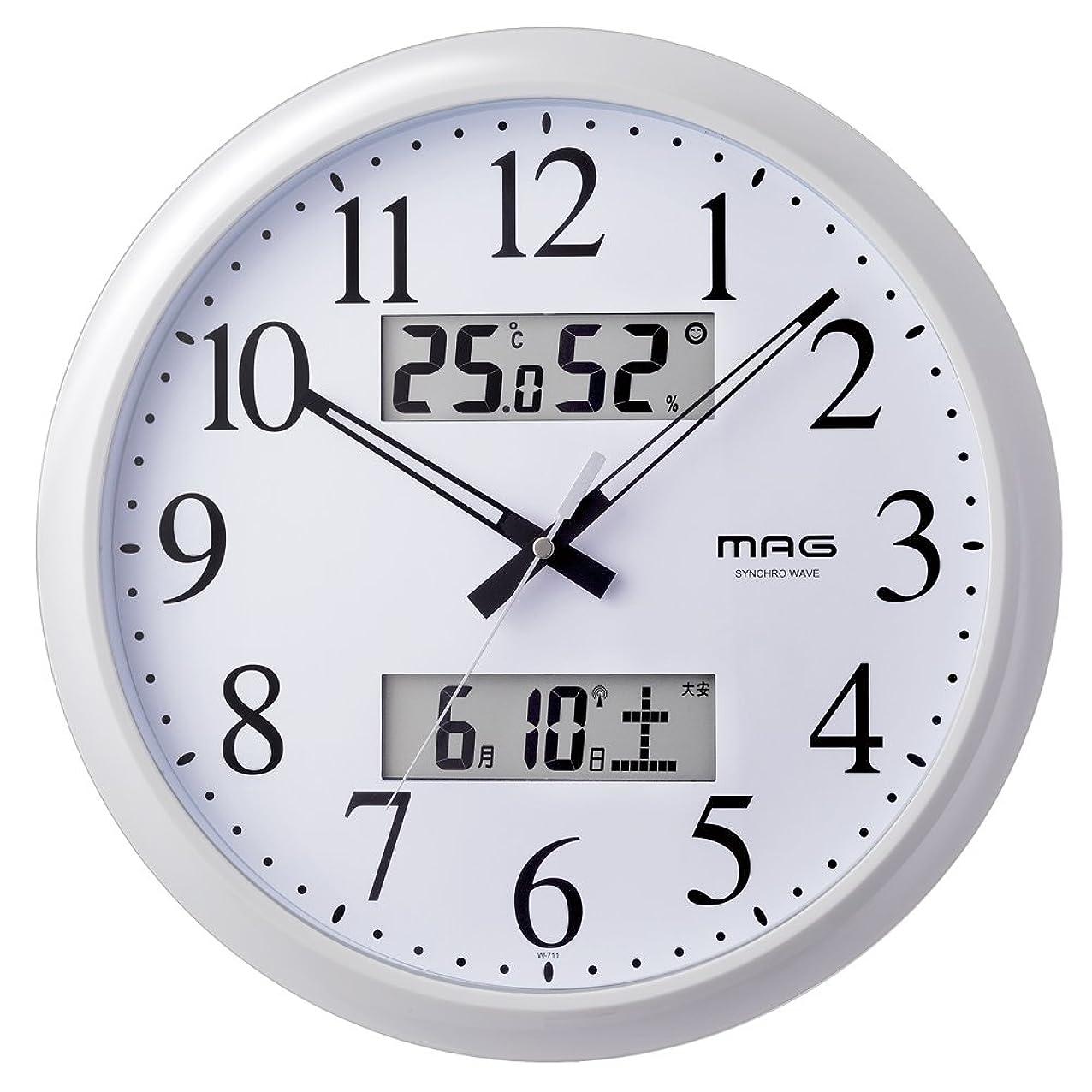 言い換えると引き渡すアーネストシャクルトンMAG(マグ) 掛け時計 電波 アナログ ダブルリンク 直径33.8cm 環境目安 六曜 温度 湿度 カレンダー表示 ホワイト W-711WH
