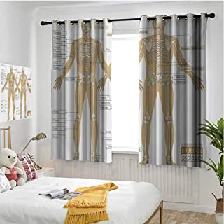 Human Anatomy 100% blackout lining curtain Diagram of Human Skeleton System with Titled Main Parts of Body Joints Picture Full shading treatment kitchen insulation curtain W63 x L63 Inch White Tan