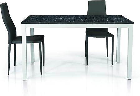 Fashion Commerce Tavolo Fc1606 Legno Marmo Nero E Bianco 110x70 160x70 Amazon It Casa E Cucina