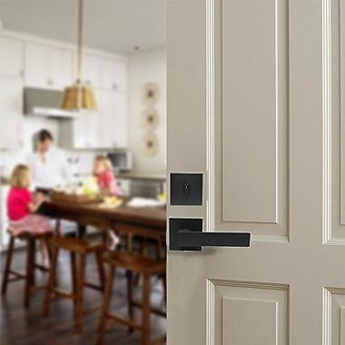 Probrico Flat Black Passage Door Lever with Single Cylinder Deadbolts Combo Pack, Modern Square Lock Set Handleset,Exterior D