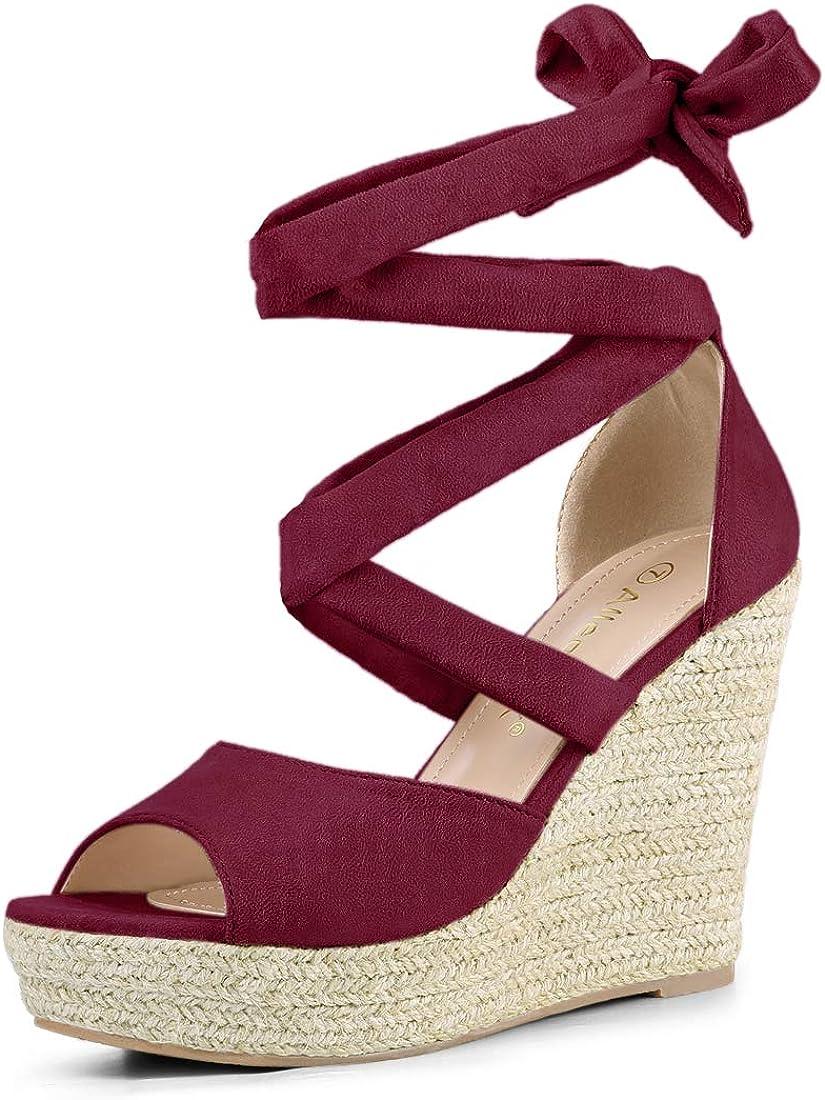 Genuine Free Shipping Allegra K Women's Lace Over item handling Espadrilles Up Sandals Wedges