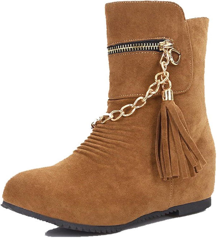 WeiPoot Women's Flock Low-top Solid Pull-on Kitten-Heels Boots