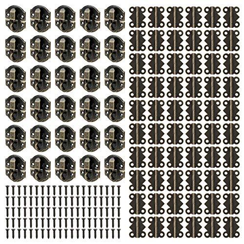 Fippy Juego de 30 cierres antiguos y pequeñas bisagras de mariposa con 360 tornillos para caja de joyería de madera decorativa