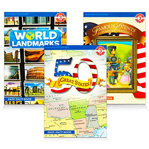 Reading Level 3 Reading Books for Kids Bundle - 3 Pack Learn to Read America Books and World Landmarks Book for Children (Guided Reading Grades 2-4)