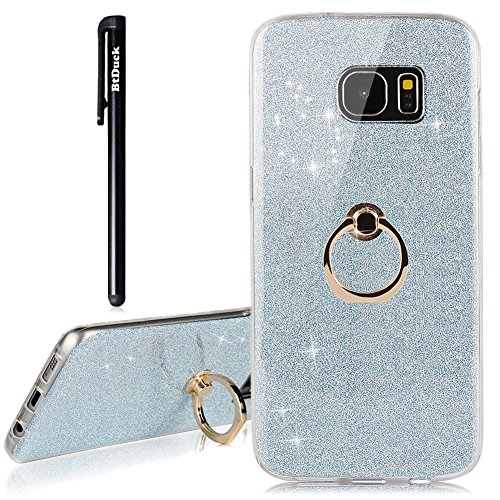 Galaxy S7 Edge Hülle,BtDuck Hülle Transparent Silikon Glitzer Papier 2 in 1 Schutzhülle Smartphone Halter Ständer Ringhalter Metall Ring Hülle Kompatibel mit Samsung Galaxy S7 Edge