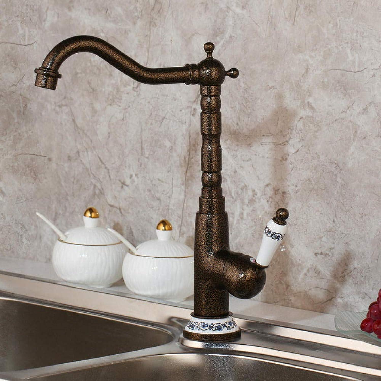 Vintage Messing heies und kaltes Wasser Antik Messing mit Blick auf Spülbecken rotierenden Wasserhahn Mischer Wasserhahn Waschbecken Messing Keramik Griff Wasserhahn