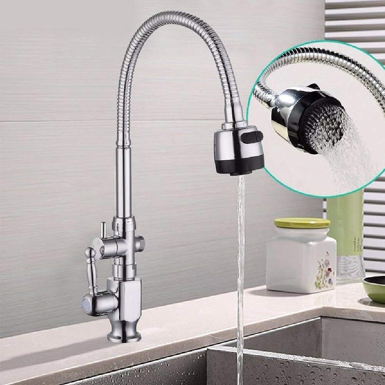 FERZA Home Waschbecken-Mischbatterie Badezimmer-Küche-Becken-Hahn auslaufsicher Wasser sparen 304 Edelstahl-Einzelne Klte in Wand-Küche