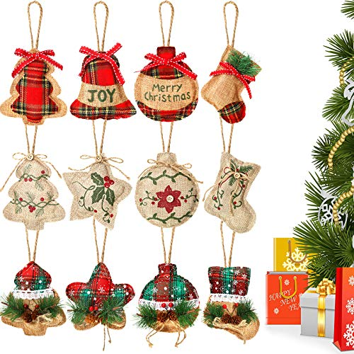Tatuo 12 Pieces Christmas Burlap Tree Stocking Ornaments Hanging Decorations Christmas Stocking Tree Ball Shaped Decor for Christmas Party, 5 Styles