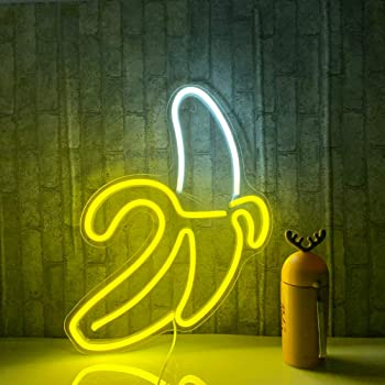 Banana Neon Signs LED Neon Lights Art Wall Decorative Lights Neon Lights for Christmas Room Wall Kids Bedroom Birthday Party Bar Decor 11''x19.7'' (Warm Yellow Banana)