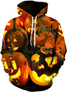 Holzkary Men's Horror Halloween Costume Funny 3D Printed Party Pullover Tops Casual Long Sleeve Hoodie Sweatshirts