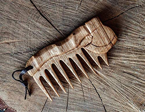 Viking axe oak Wood Beard Comb Pocket Comb FREE SHIPPING Celtic Nordic Gift for Him