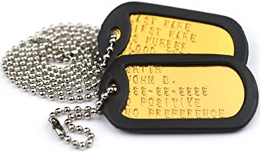 GoTags Personalized Military Dog Tags, Custom US Military ID Tag Necklace Set with 2 Tags, Steel Ball Chain and Tag Silencers, Tags in Stainless Steel, Black, Blue, Green, Gold, Pink, Purple, or Red