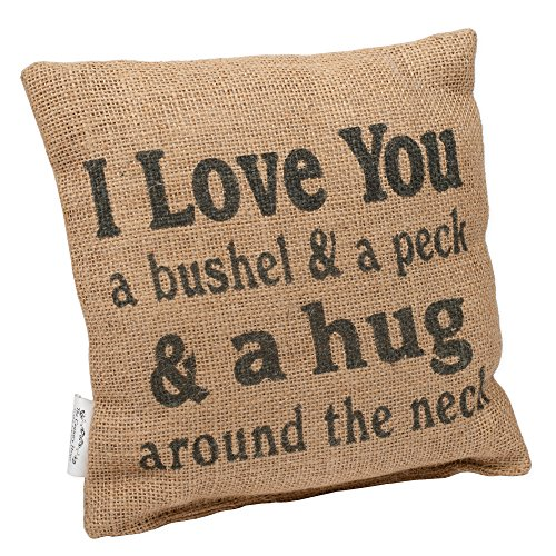 "Country House Collection 8"" x 8"" Mini Burlap Pillow ""Bushel and a Peck"