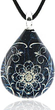 Chuvora Hand Blown Venetian Murano Glass Blue Glitter Mandala Flower Art Pendant Necklace, 17-19 inches