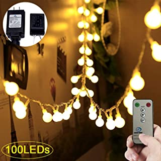 Adecorty Globe String Lights 100 LED Ball String Lights with Remote & Timer UL Certified Fairy Lights Christmas String Lights Warm White for Outdoor Christmas Tree Wedding Party Bedroom Patio Garden