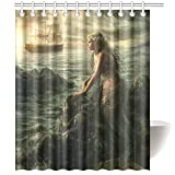 Schöne Meerjungfrau Kunstdruck Duschvorhang Abstrakt Meer & Polyester-Boot-Badezimmer Decor 167,6x 182,9cm, mehrfarbig, 60*72