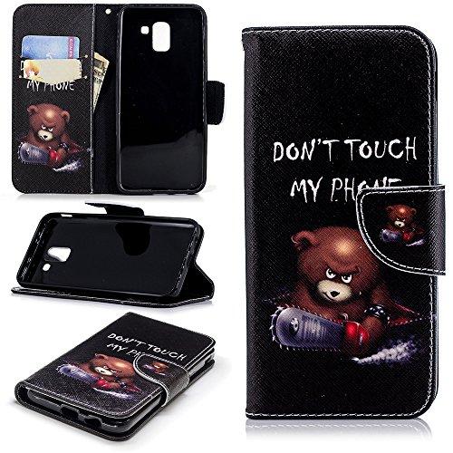 Capa carteira XYX para Galaxy J6 2018, [Suporte] [Alça de pulso] Capa protetora flip PU Leahter com design pintado para Samsung J6 2018 - Don't Touch My Phone