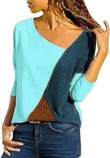 Mujer Polyester Ajustado Blusa Moda Patchwork Casual para Mujer Color Block O-Neck Manga Larga Camiseta Tops Otoño e Invie...