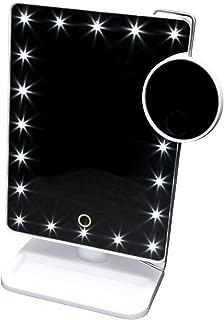 タッチパネルで明るさ調節可能 LED20個 10倍拡大鏡付スタンドミラー (お姫様ミラー KTL800XT) ホワイト