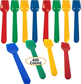 "Ice Cream Gelato Spoons 3.6"" Long Premium Colorful Plastic (400 Count) Small Testing Spoons Heavy Duty disposable or Reusable"