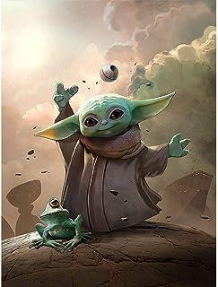 Bébé Yoda Master Star Wars Peinture par Numéro Chiffre pour Adultes et Enfants sans Cadre à L'Huile Numérique Diy Bricolag...