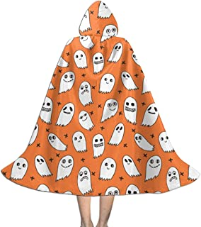 Unisex Hooded Cape Cloak Ghosts Orange Ghosts Halloween Ghost Spirit Casper October Kids Cute Halloween Kids Cloak with Hood Party Costumes for Halloween Christmas Cosplay