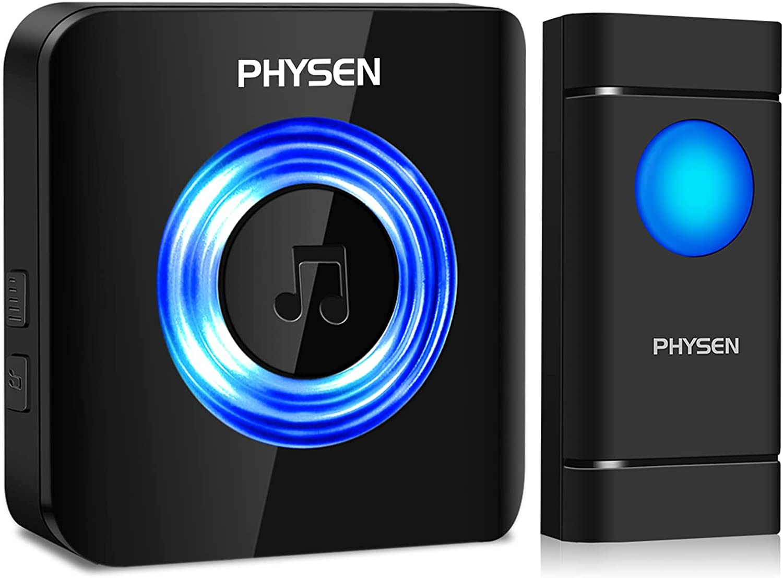 Timbre Inalámbrico para Puerta, PHYSEN Timbre IP55 Impermeable con LED Flash, 5 Volumen Ajustable, 58 Melodías, Alcance a 300m, 1 Transmisor y 1 Receptores Negro