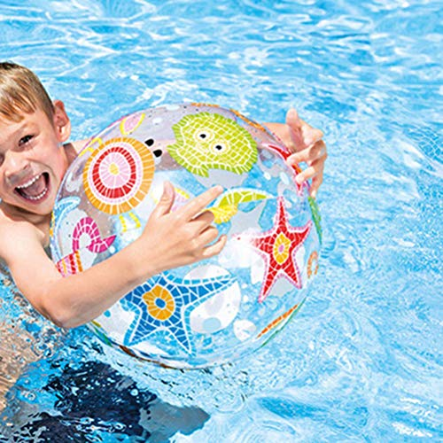 BESPORTBLE 3PCS Beach Pool Balls Toys Inflatable Clear Beach Ball for Summer Pool Party Fun Games Activities - Random Pattern 14inch/35cm
