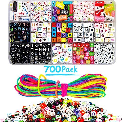 DIY Letter Beads Bracelet, FANDE 700Pcs Kit Hacer Pulseras, Acrylic Alphabet Letter Beads, Kits de Perlas de Joyería para Niños, para Hacer Joyas, Pulseras, Collares, llaveros