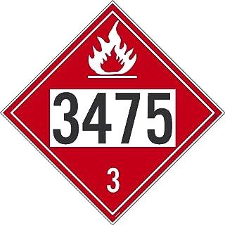 NMC DL170BP Safety Sign Placard, Ethanol Gasoline, 3475, 10.75X10.75, Ps Vinyl