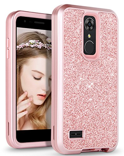 DOMAVER Case Compatible for LG K10 Glitter Bling Sparkle Shiny Three Layer Heavy Duty Hybrid Hard PC Flexible TPU Bumper Shockproof Protective Girls Women Phone Cover Case for LG K10, Rose Gold