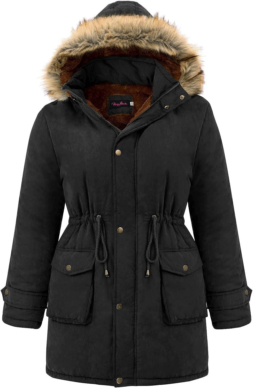 Hanna Nikole Womens Hooded Fleece Lined Coats Parkas Faux Fur Jackets with Pockets