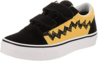 1378f20a8d Vans Kids Old Skool V (Peanuts) Charlie Brown Black Skate Shoe 11.5 Kids