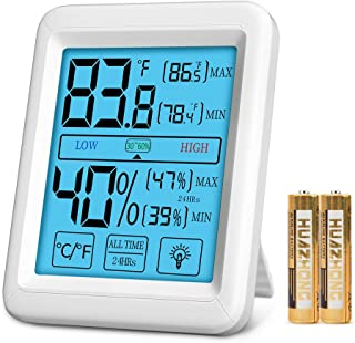 Digital Thermometer Humidity Gauge Humidifier, Herphia Indoor Humidity Monitor Hygrometer with Jumbo Touchscreen and Backlight for Room,Kitchen, Lab, Office, Greenhouse(4.5 X 3.5 Inch, Battery Included)