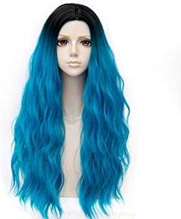 Falamka Multicolor Synthetic Black Root Ombre Hair Women Costume Wig Long Curly Cosplay Wigs (teal blue)
