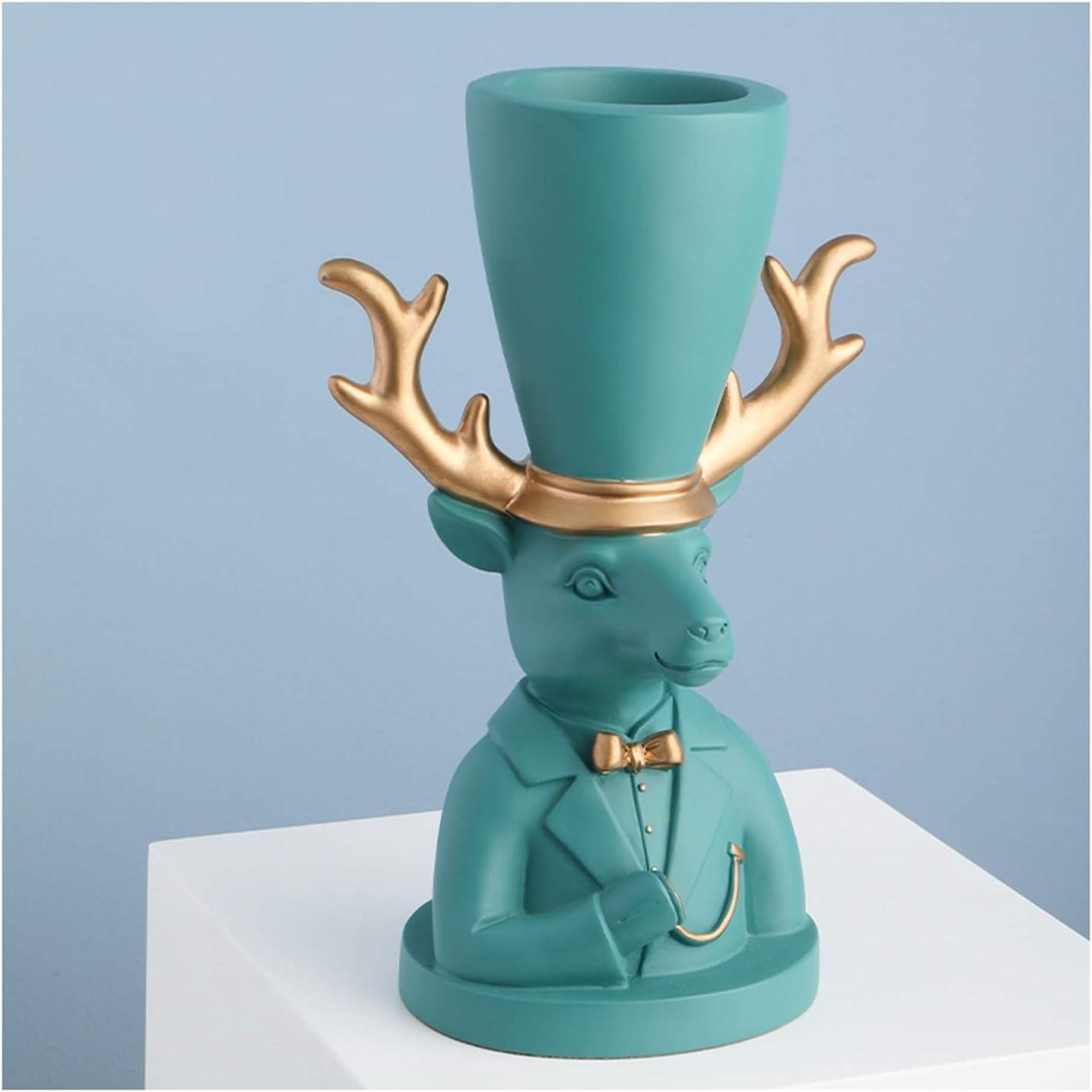 alyf Desk Ornaments Resin Miami Mall Deer Makeup It is very popular Sculpture Brush