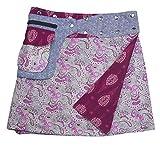 Sunsa Damen Rock Minirock Sommerrock Wickelrock aus luftiger Baumwolle, 2 Designs Röcke in einem, Größe verstellbar, Frau Bekleidung, Geburtstag Geschenk für Frauen, Boho Bekleidung 15743