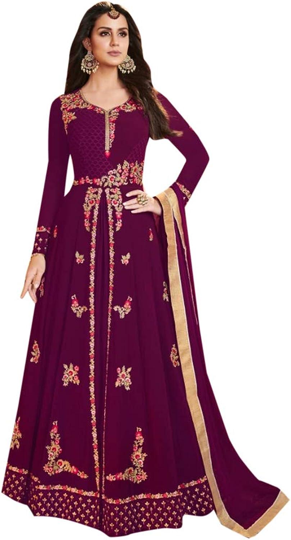 Indian Ethnic Designer Purple Front Cut Anarkali Salwar Kameez Suit Party Wear Collection 7148