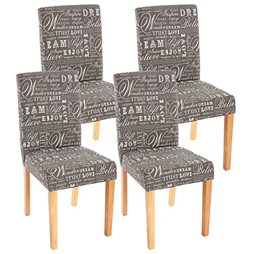 Mendler 4X Esszimmerstuhl Stuhl Küchenstuhl Littau - Textil mit Schriftzug, grau, helle Beine