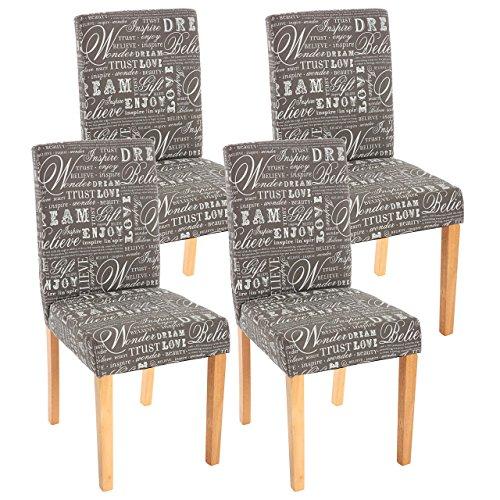 Mendler 4X Esszimmerstuhl Stuhl Küchenstuhl Littau ~ Textil mit Schriftzug, grau, helle Beine