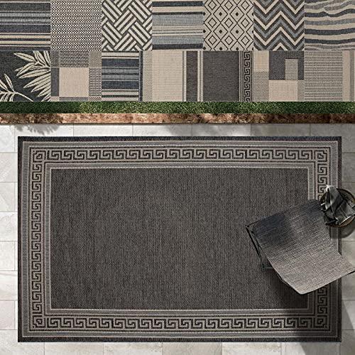 Outdoor Teppich Clyde für Terrasse und Balkon   wetterfester Sommerteppich für Garten   robustes Flachgewebe für außen und innen   modernes Design   Modell Memphis mit Rand Muster 200x290 cm