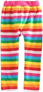 VIKITA Girls Rainbow Stripe Leggings Cotton Flower Long Spring Summer Pants for 2-8 Years