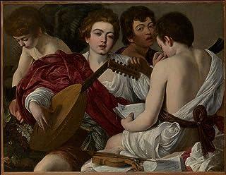 Singing Palette 3 Dipinti Famosi - €40-€1500 Pittura a Olio a Mano da pittori accademici - Musicians Caravaggio - Dipinto ...
