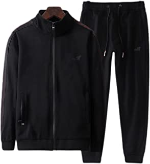 طقم بدلة رياضية للرجال مكون من قطعتين من ملابس رياضية بسحاب كامل من ملابس الركض (اللون: أسود، المقاس: 5XL)