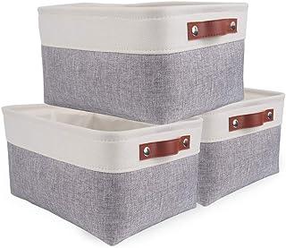 SOCOHOME Lot de 3 Paniers de Rangement, Boîte de Rangement Pliable avec poignée, Caisse de Rangement en Tissu pour Vêtemen...