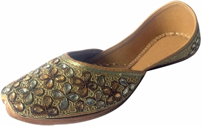 Step n Style Women's gold Kundan Work Handmade Khussa shoes Punjabi Jutti Ethnic Mojari Indian shoes