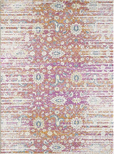 KAS Rugs Evolution Boho Distressed Plush 7'10 x 10'2 Stain Resistant Area Rug in Sunset