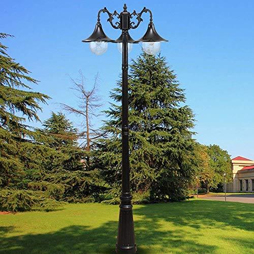 3 luces Linterna de vidrio minimalista americana Paisaje Lámpara de calle Patio impermeable Retro Vintage Lámpara de poste alto Villa al aire libre Jardín Comunidad Hogar Lámpara de poste de pilar eu